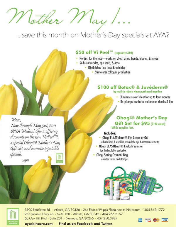 aya medical spa mothers day specials 2011