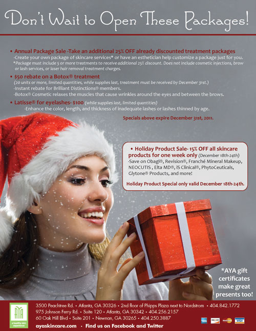 aya medical spa december 2011 specials