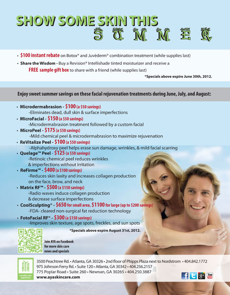 summer skin care specials at aya medical spa