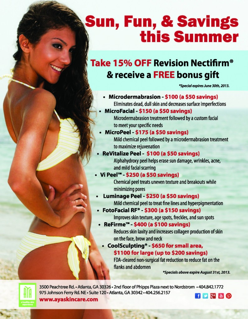 ayaskincare specials summer 2013